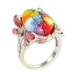 Bijuterii Murano - inel din argint cu libelule