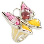 Bijuterii cu sticla de Murano: Inel din argint fluture mare Millefiori
