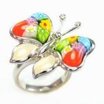 Bijuterii cu sticla de Murano: Inel din argint fluture Millefiori