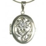 martisoare argint - pandantiv caseta ovala cu floare