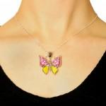 pandantiv Murano Millefiori fluture