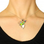 pandantiv argint murano millefiori fluture