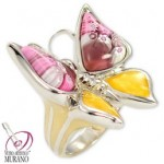 Inel din argint cu Murano fluture mare Millefiori roz