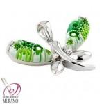 Pandantiv din argint cu Murano Millefiori verde