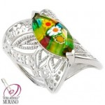 Inel argint cu sticla de Murano
