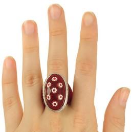 Inel din argint Murano rosu model multifatetat oval