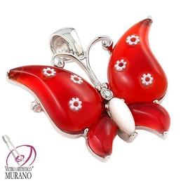 Brosa / pandantiv fluture argint cu Murano rosu