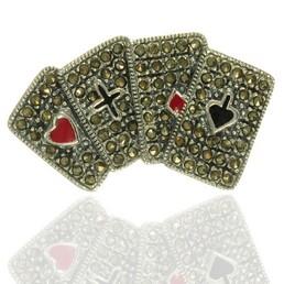 Brosa argint carti de joc