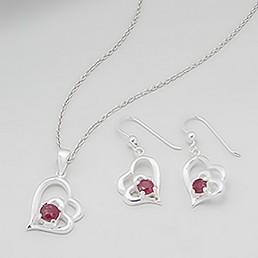 Set bijuterii argint inimioare cu rubine