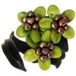 Bratara piele, sidef, perle naturale (verde)