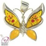 Pandantiv din argint Millefiori galben fluture