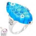Inel din argint cu Murano Millefiori multifatetat bleu