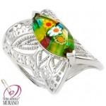 Inel argint cu sticla de Murano Millefiori Royal