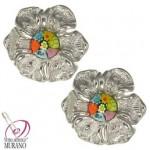 Cercei din argint Millefiori floare