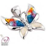Pandantiv din argint Murano fluture albastru