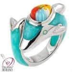 Inel delfin din argint rodiat
