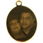 Pandantiv oval placat cu aur pentru gravura