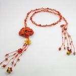 curea din piele cu floare orange