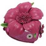 bratara floare piele roz