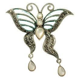 brosa argint fluture