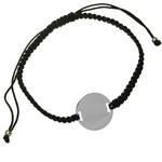 Bratara din argint cu snur negru pentru personalizat