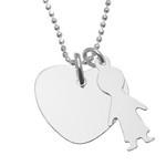 Colier cu inimioara si charm copil din argint