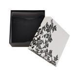 Cutiuta bijuterii cu model floral alb-negru
