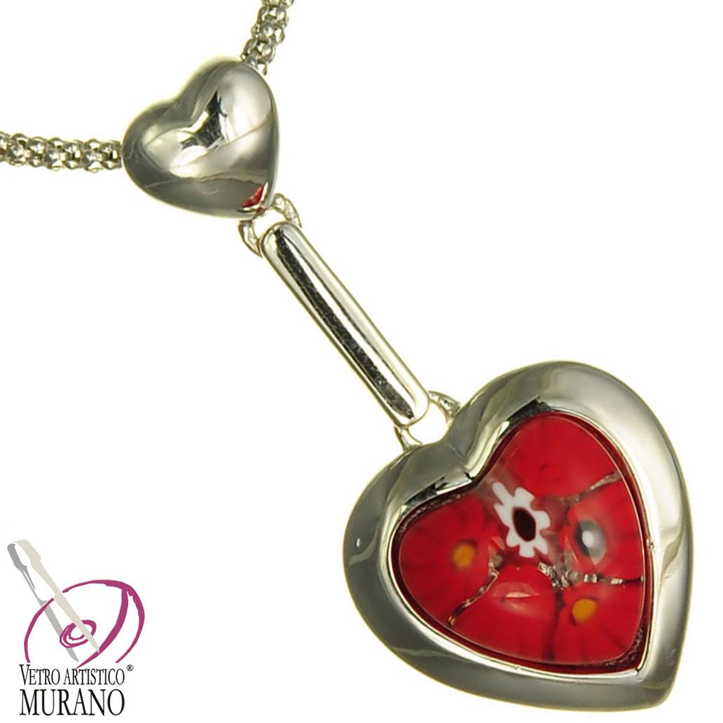Colier din argint cu inimioara Millefiori rosu